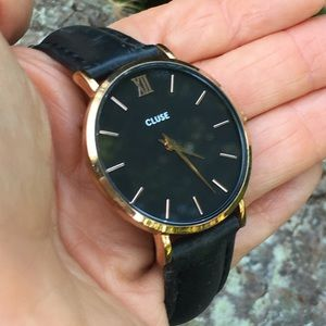 Cluse A52622 Black Leather/Rose Gold Watch
